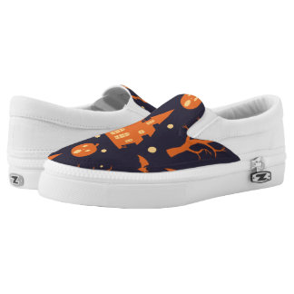 Halloween Spooky House Bats Trees Pumpkin Pattern Slip-On Sneakers