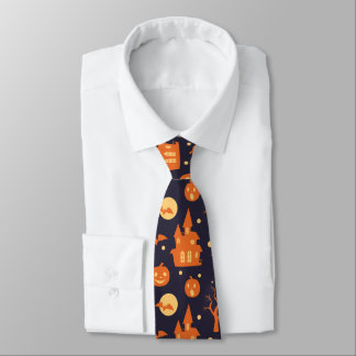 Halloween Spooky House Bats Trees Pumpkin Pattern Tie
