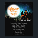 """Halloween Spooky House Flyer<br><div class=""""desc"""">Halloween costume party promotional flyers with spooky haunted house silhouette on a moonlit background. Easy to customize with your own text.</div>"""