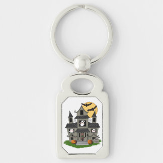 Halloween Spooky House Silver-Colored Rectangular Metal Keychain