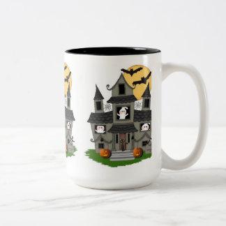 Halloween Spooky House Two-Tone Coffee Mug