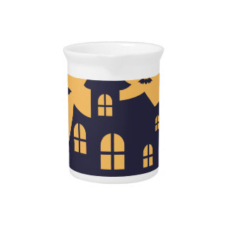 Halloween Spooky Mansion and Bats Beverage Pitcher