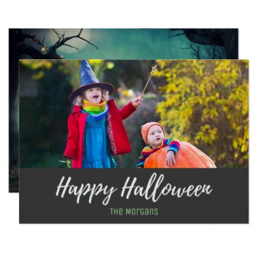 Halloween Themed Halloween Spooky Night Forest Pumpkins Photo Card