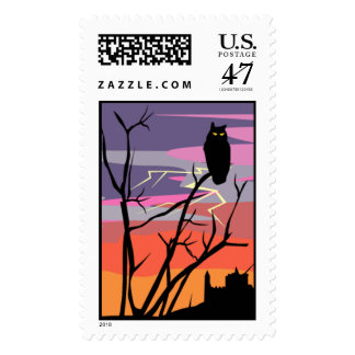 Halloween spooky postage stamp