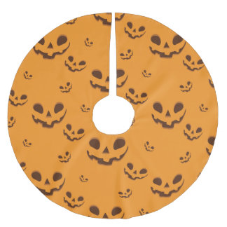 Halloween Spooky Pumpkin Face Pattern Brushed Polyester Tree Skirt