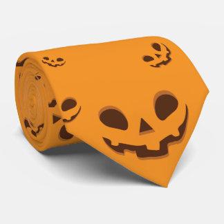Halloween Spooky Pumpkin Face Pattern Neck Tie