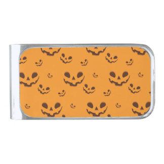 Halloween Spooky Pumpkin Face Pattern Silver Finish Money Clip