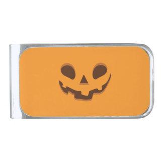 Halloween Spooky Pumpkin Face Silver Finish Money Clip