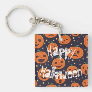 Halloween Spooky Pumpkin Pattern Jack O Lantern Keychain