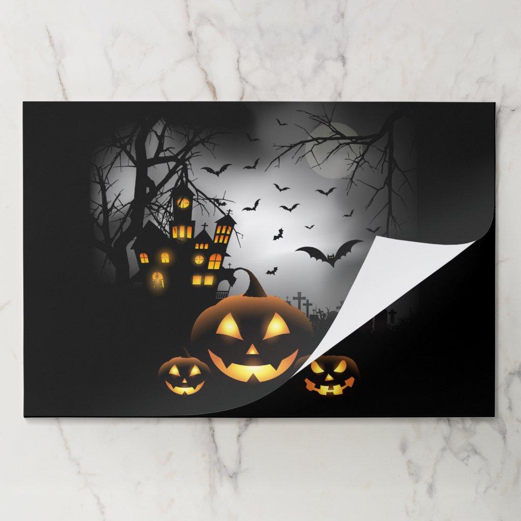 Halloween - Spooky Pumpkins Grey Moon Placemat