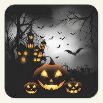 Halloween - Spooky Pumpkins Grey Moon Square Sticker