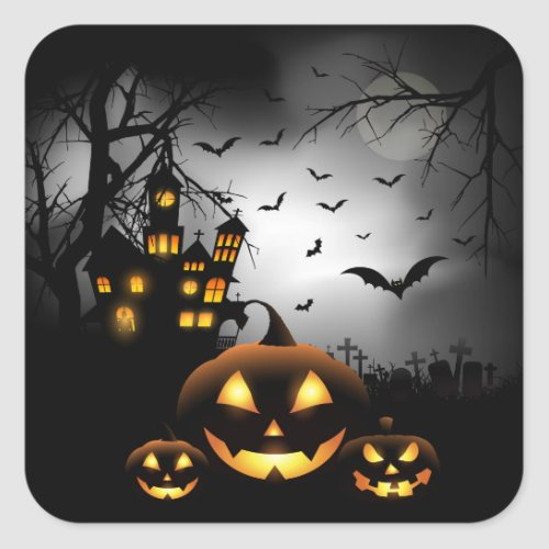 Halloween _ Spooky Pumpkins Grey Moon Square Sticker