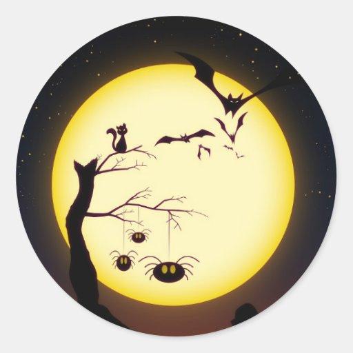 Halloween Spooky Silhouettes Sticker Round Sticker