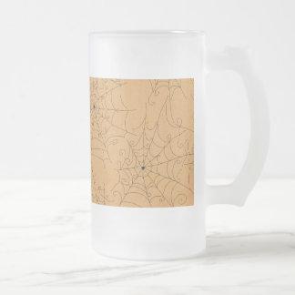 Halloween Spooky Spider Webs Pattern Glass Beer Mug