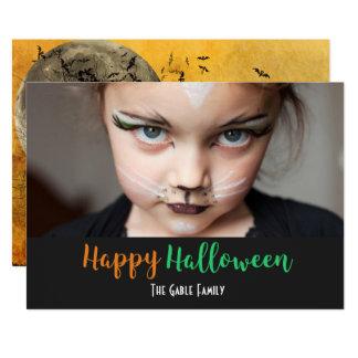 Halloween Spooky Tree Bats Sky Photo Card
