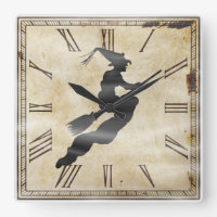 Halloween Square Clock face with Witch Silhouette