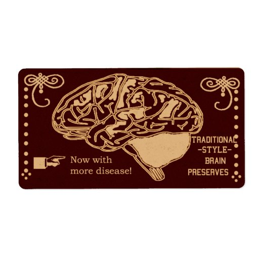 halloween squishy brain canning shipping label