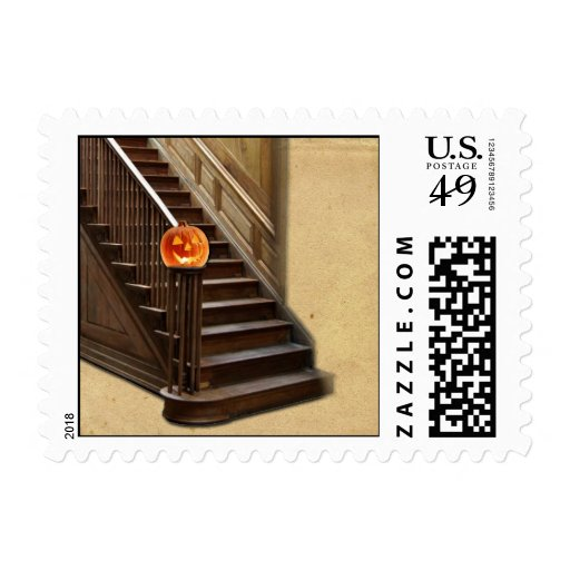 Halloween Staircase with Pumpkin Postage