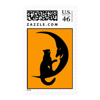 HALLOWEEN STAMP Silhouette Cat Moon Laughing