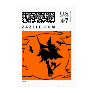 Halloween stamps | witch on broom design