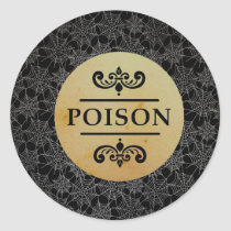 Halloween Stick Black Spider Webs Poison Classic Round Sticker