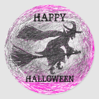 Halloween Sticker Witch Pink