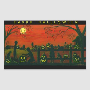 Halloween Themed Halloween stickers,Jack-O-Lanterns,dog,black,cat Rectangular Sticker