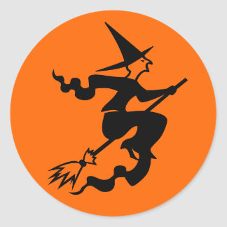 Halloween stickers | sealers with witch on a broom