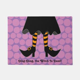 "Halloween Striped Witch Legs 18"" x 24"" Doormat"