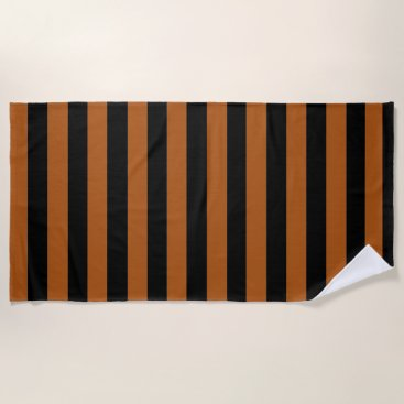 Beach Themed Halloween Stripes Beach Towel