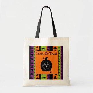 Halloween Stripes Jack O'Lantern Bag