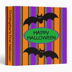 Halloween Stripes Personalized Binder