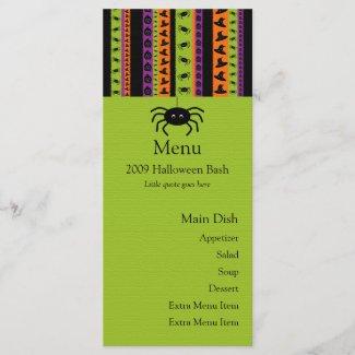 Halloween Stripes Spider Menu Card