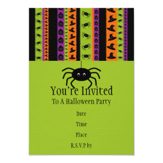 Halloween Stripes Spider Party Invitation
