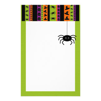Halloween Stripes Spider Stationery