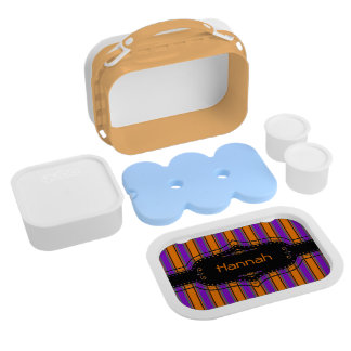 Halloween Stripes Too Personalized Lunch Box