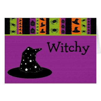 Halloween Stripes Witch Hat Card