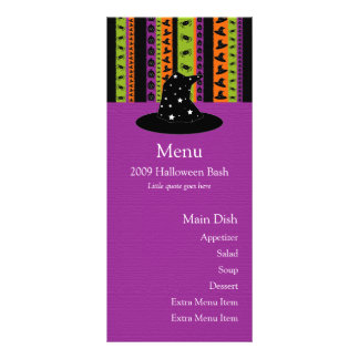 Halloween Stripes Witch Hat Menu Card