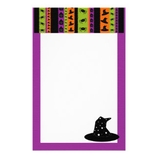 Halloween Stripes Witch Hat Stationery