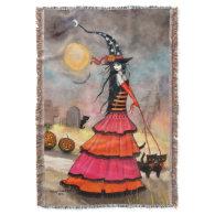 Halloween Stroll Fantasy Witch Cat Halloween Art Throw