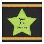 "Halloween Style Green Black Orange Star Circle 5.25"" Square Invitation Card"