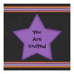 "Halloween Style Purple Black Orange Star Circle 5.25"" Square Invitation Card"