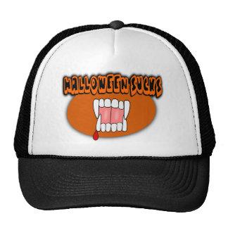 Halloween Sucks With Vampire Fangs, Orange Oval Mesh Hats