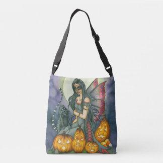 Halloween Sugar Skull Fairy Pumpkin Cat Crossbody Bag
