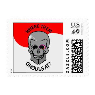Halloween Sugar Skull Postage Stamps
