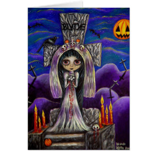 Halloween Suicide Bride with Raven & Pumpkin Moon Greeting Card