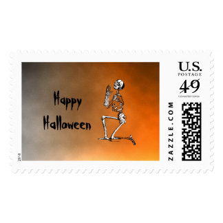 Halloween Sunset Skeleton Scary Vintage Postage