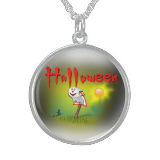Halloween Sunshine Ghost - Sterling Silver Necklace