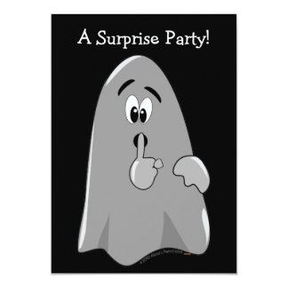 Halloween Surprise Party Invitations Cartoon Ghost