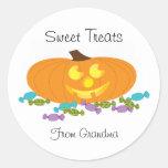 Halloween Sweet Treats with a pumpkin sticker Round Sticker